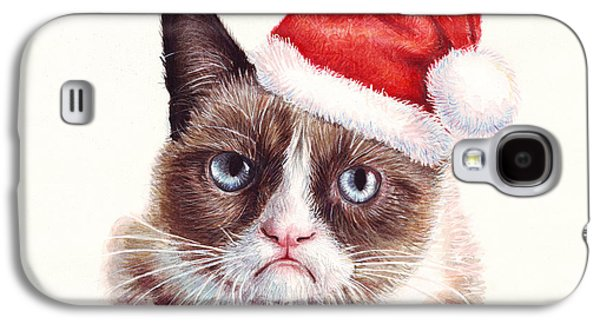 Print Mixed Media Galaxy S4 Cases - Grumpy Cat as Santa Galaxy S4 Case by Olga Shvartsur