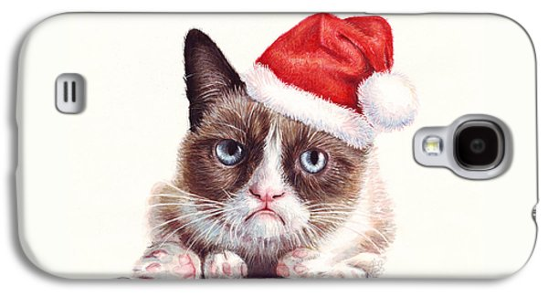 Christmas Cards - Galaxy S4 Cases - Grumpy Cat as Santa Galaxy S4 Case by Olga Shvartsur