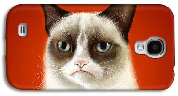 Pet Digital Art Galaxy S4 Cases - Grumpy Cat Galaxy S4 Case by Olga Shvartsur