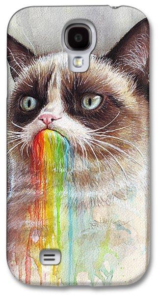 Grumpy Cat Tastes The Rainbow Galaxy S4 Case by Olga Shvartsur