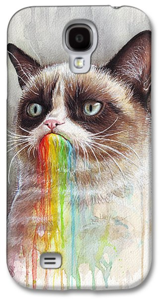 Rainbow Galaxy S4 Cases - Grumpy Cat Tastes the Rainbow Galaxy S4 Case by Olga Shvartsur