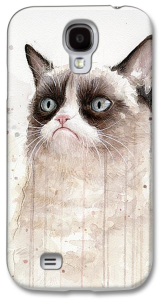 Painted Mixed Media Galaxy S4 Cases - Grumpy Watercolor Cat Galaxy S4 Case by Olga Shvartsur