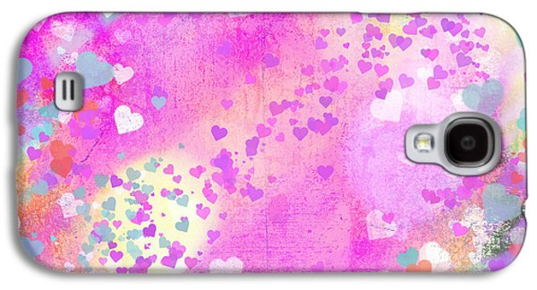 Abstract Digital Mixed Media Galaxy S4 Cases - Grunge Hearts Abstract Art I Galaxy S4 Case by Marianne Campolongo