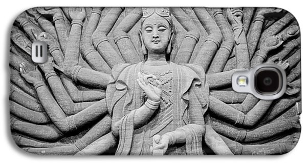 Tibetan Buddhism Galaxy S4 Cases - Guanyin Bodhisattva in Black and White Galaxy S4 Case by Dean Harte