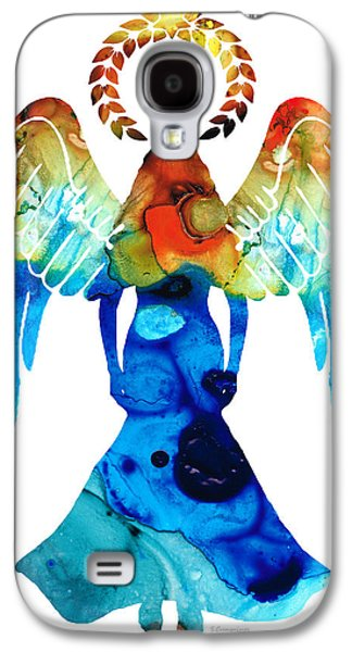 Religious Galaxy S4 Cases - Guardian Angel - Spiritual Art Painting Galaxy S4 Case by Sharon Cummings