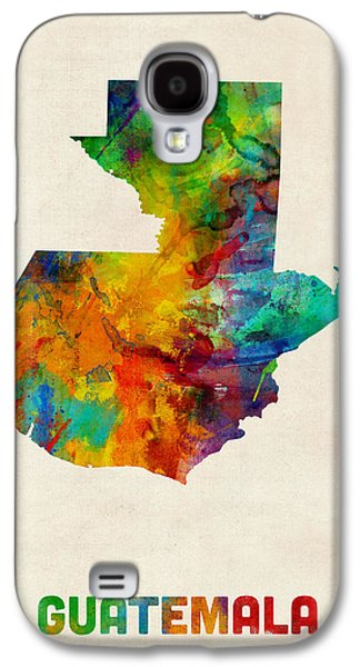 Maps Galaxy S4 Cases - Guatemala Watercolor Map Galaxy S4 Case by Michael Tompsett
