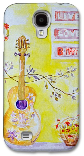 Lilacs Drawings Galaxy S4 Cases - Guitar of a Flower Girl Live Love Be Happy Galaxy S4 Case by Patricia Awapara