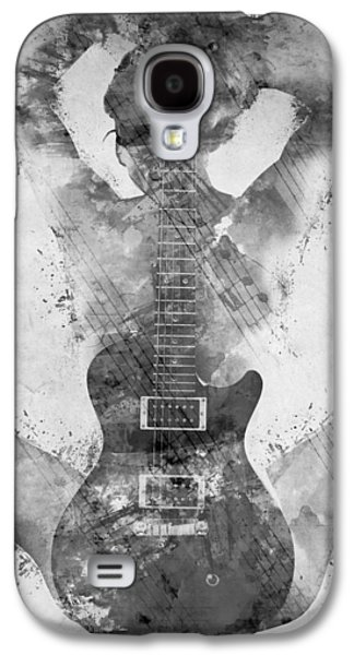 Textured Galaxy S4 Cases - Guitar Siren in Black and White Galaxy S4 Case by Nikki Smith