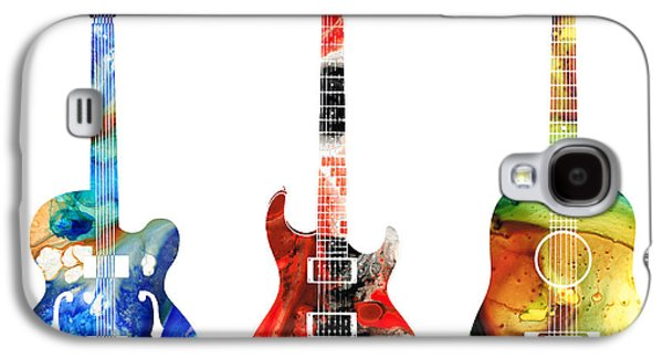 Print Mixed Media Galaxy S4 Cases - Guitar Threesome - Colorful Guitars By Sharon Cummings Galaxy S4 Case by Sharon Cummings