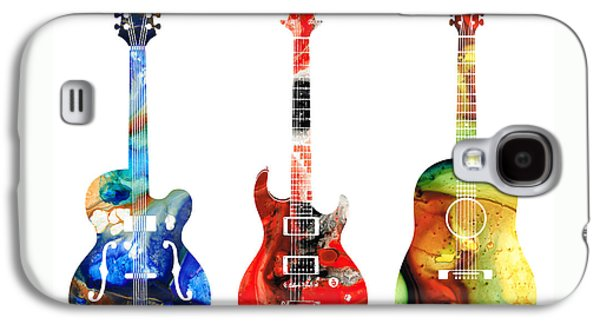For Sale Galaxy S4 Cases - Guitar Threesome - Colorful Guitars By Sharon Cummings Galaxy S4 Case by Sharon Cummings