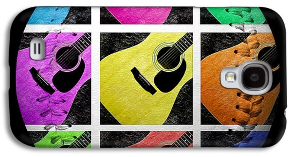 Sports Photographs Galaxy S4 Cases - Guitar Tic Tac Toe White Baseball Square Galaxy S4 Case by Andee Design