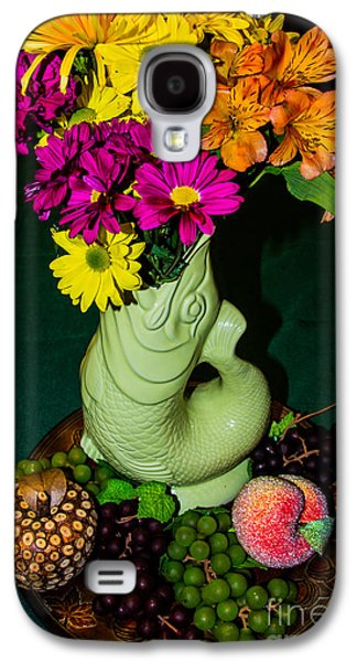 Still Life With Fish Galaxy S4 Cases - Gurgle Vase With Flowers Galaxy S4 Case by Kathy Liebrum Bailey