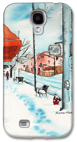 Dogs In Snow. Paintings Galaxy S4 Cases - Gurley Street Prescott Arizona On a Cold Winters Day Western Town Galaxy S4 Case by Sharon Mick