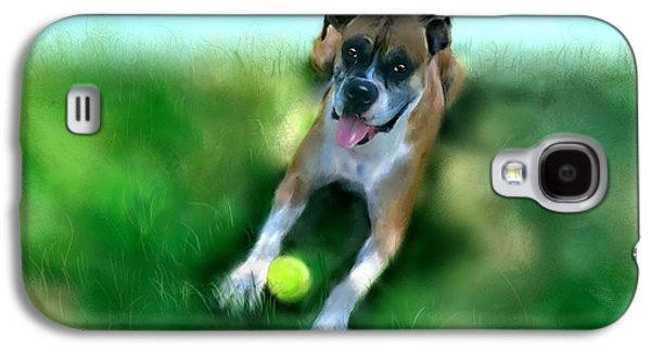 Dog Playing Ball Galaxy S4 Cases - Gus the Rescue Dog Galaxy S4 Case by Colleen Taylor