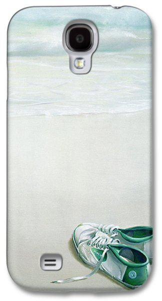 Green Galaxy S4 Cases - Gym Shoes On Beach Galaxy S4 Case by Lincoln Seligman