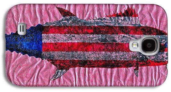 4th July Mixed Media Galaxy S4 Cases - Gyotaku - American Spanish Mackerel - Flag Galaxy S4 Case by Jeffrey Canha