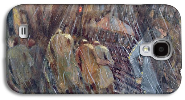 Nyc Rain Galaxy S4 Cases - Hail On Sixth Avenue, New York City, 1987 Oil On Canvas Galaxy S4 Case by Charlotte Johnson Wahl