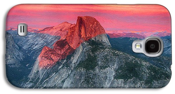 Half Dome Paintings Galaxy S4 Cases - Half Dome Sunset from Glacier Point Galaxy S4 Case by John Haldane
