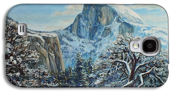 Half Dome Paintings Galaxy S4 Cases - Half Dome Winter in Yosemite Galaxy S4 Case by Jennifer Bartsch