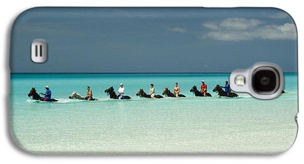 Horseback Galaxy S4 Cases - Half Moon Cay Bahamas beach scene Galaxy S4 Case by David Smith