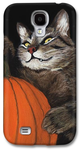 Orange Pastels Galaxy S4 Cases - Halloween Cat Galaxy S4 Case by Anastasiya Malakhova