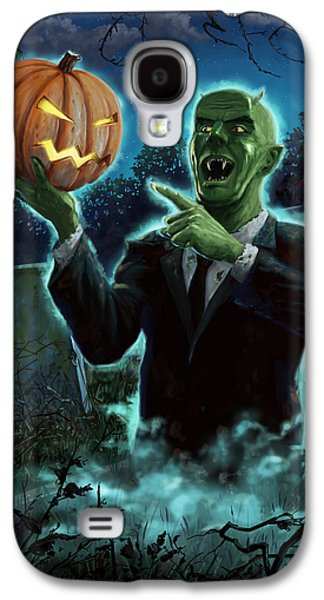 Creepy Digital Art Galaxy S4 Cases - Halloween Ghoul rising from Grave with pumpkin Galaxy S4 Case by Martin Davey
