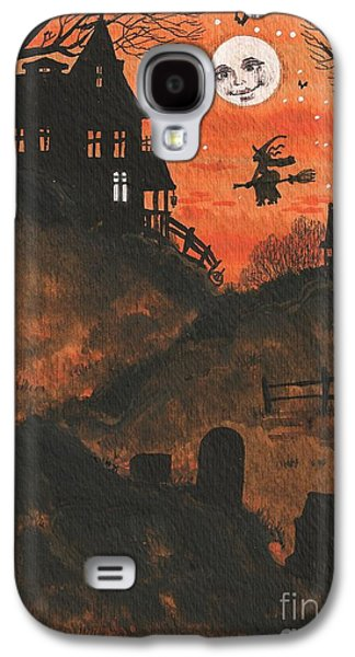 Haunted House Paintings Galaxy S4 Cases - Halloween Hamlet Galaxy S4 Case by Margaryta Yermolayeva