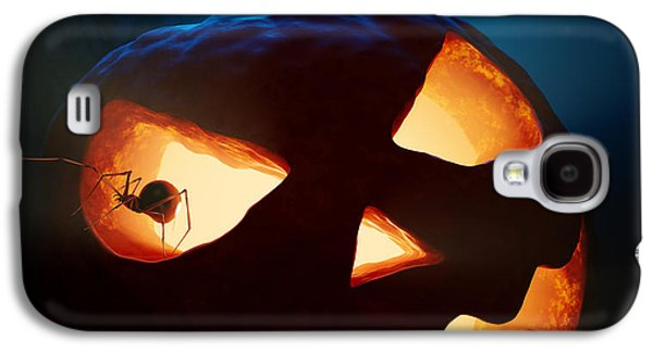 Ghostly Galaxy S4 Cases - Halloween pumpkin and spiders Galaxy S4 Case by Johan Swanepoel