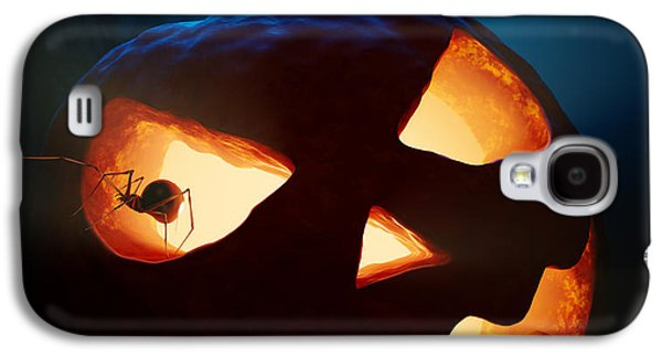Face Digital Galaxy S4 Cases - Halloween pumpkin and spiders Galaxy S4 Case by Johan Swanepoel