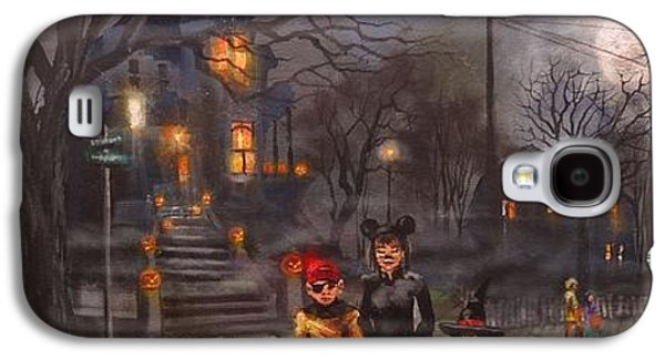 Haunted House Paintings Galaxy S4 Cases - Halloween Trick or Treat Galaxy S4 Case by Tom Shropshire