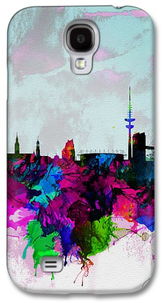 Hamburg Galaxy S4 Cases - Hamburg Watercolor Skyline Galaxy S4 Case by Naxart Studio