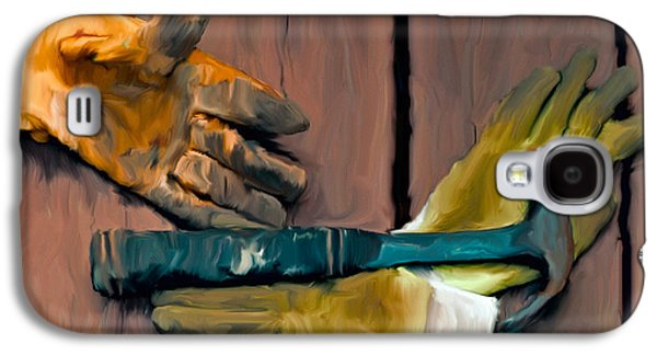 Hammer Paintings Galaxy S4 Cases - Hammer and Gloves Galaxy S4 Case by Ted Guhl