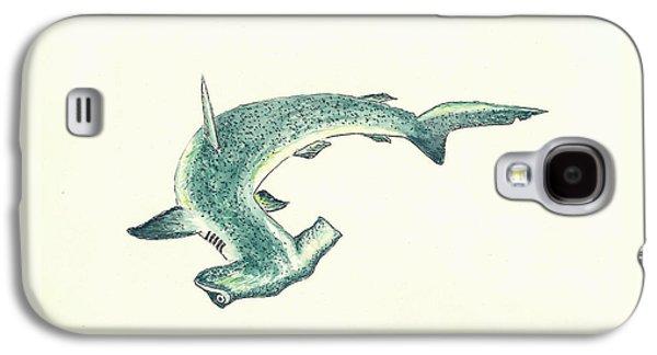 Shark Paintings Galaxy S4 Cases - Hammerhead Shark Galaxy S4 Case by Michael Vigliotti