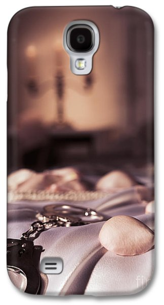 """indoor"" Still Life Photographs Galaxy S4 Cases - Handcuffs ropes and rose petals on bed BDSM sex romantic concept Galaxy S4 Case by Oleksiy Maksymenko"