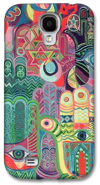 Colorful Abstract Galaxy S4 Cases - Hands As Amulets Ii, 1992 Acrylic On Canvas Galaxy S4 Case by Laila Shawa