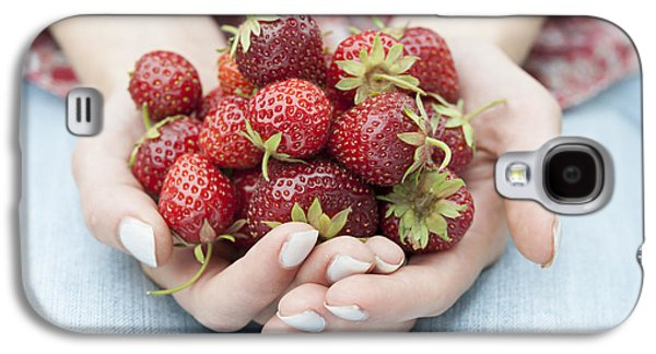 Person Galaxy S4 Cases - Hands holding fresh strawberries Galaxy S4 Case by Elena Elisseeva