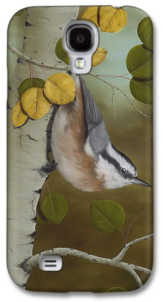 Tapestries Textiles Galaxy S4 Cases - Hanging Around-Red Breasted Nuthatch Galaxy S4 Case by Rick Bainbridge