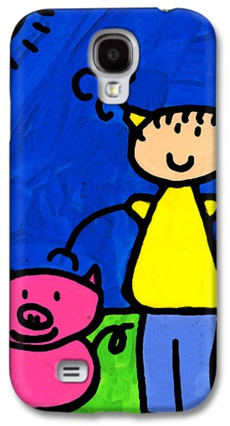 Figures Mixed Media Galaxy S4 Cases - Happi Arte 1 - Girl With Pink Pig Art Galaxy S4 Case by Sharon Cummings