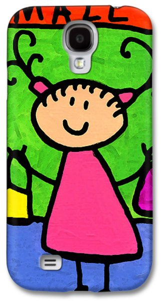 Little Girls Mixed Media Galaxy S4 Cases - Happi Arti 5 - Shopaholic Little Girl Art Galaxy S4 Case by Sharon Cummings