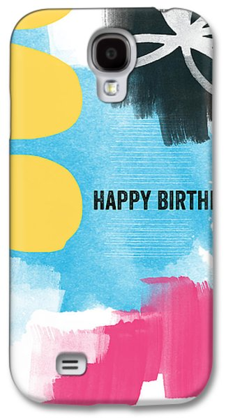 Blue Abstracts Mixed Media Galaxy S4 Cases - Happy Birthday- Colorful Abstract Greeting Card Galaxy S4 Case by Linda Woods