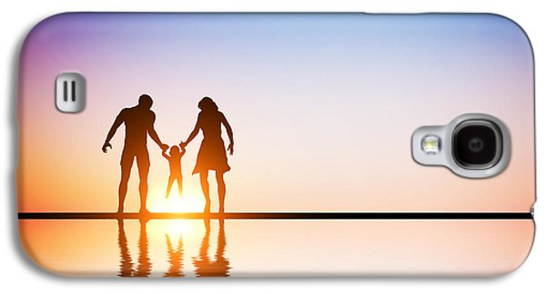 Family Walks Galaxy S4 Cases - Happy family together parents and their child at sunset Galaxy S4 Case by Michal Bednarek