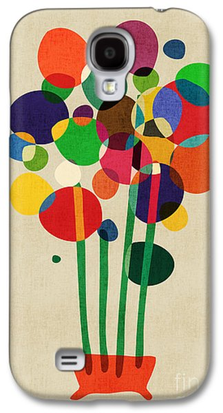 Colorful Abstract Digital Galaxy S4 Cases - Happy Flowers in The Vase Galaxy S4 Case by Budi Kwan