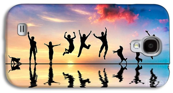 Freedom Party Galaxy S4 Cases - Happy friends family with dog and cat jumping at sunset Galaxy S4 Case by Michal Bednarek