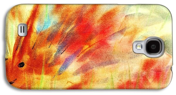 Orange Pastels Galaxy S4 Cases - Happy Hedgehog Galaxy S4 Case by Anastasiya Malakhova