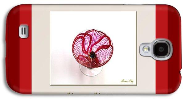 Digital Glass Galaxy S4 Cases - Happy Holidays. Red Poppy Galaxy S4 Case by Oksana Semenchenko