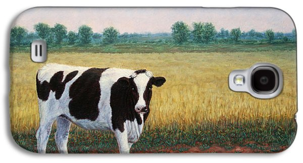 Hay Paintings Galaxy S4 Cases - Happy Holstein Galaxy S4 Case by James W Johnson