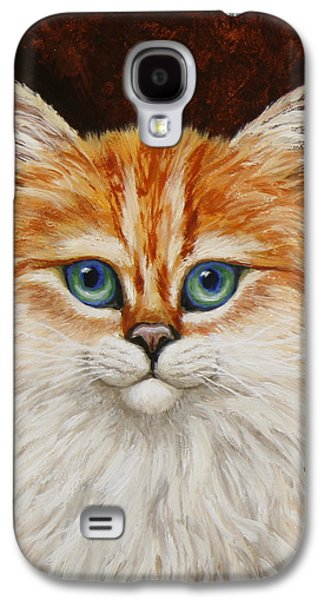 Orange Tabby Paintings Galaxy S4 Cases - Happy Kitty Galaxy S4 Case by Crista Forest