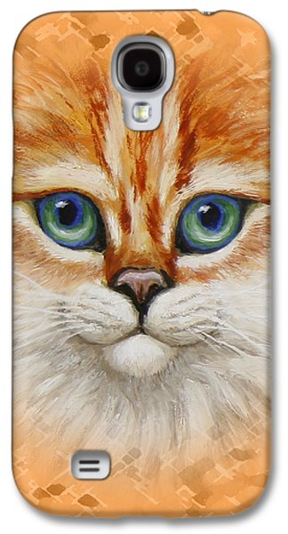 Orange Tabby Paintings Galaxy S4 Cases - Happy Orange Kitty Pillow Galaxy S4 Case by Crista Forest