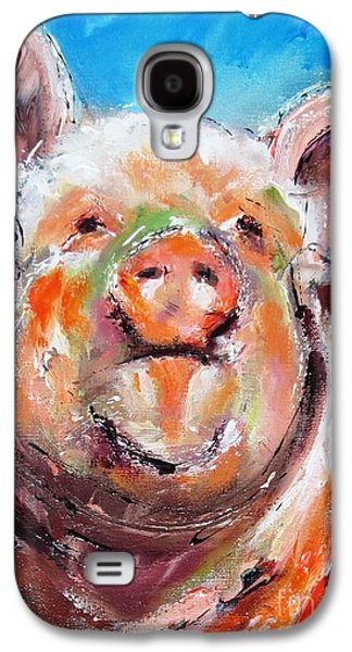 Piglets Paintings Galaxy S4 Cases - Happy piglet -ideal painting for kitchen Galaxy S4 Case by Mary Cahalan Lee