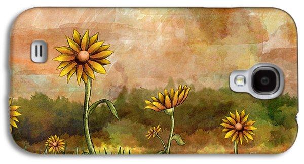 Sunny Mixed Media Galaxy S4 Cases - Happy Sunflowers Galaxy S4 Case by Bedros Awak